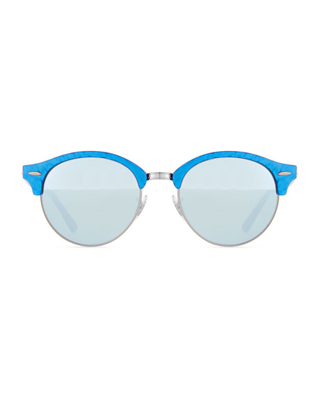 Round Acetate Sunglasses W/Mirror Lenses