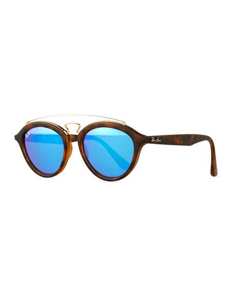 Ray-Ban Round Double-Bridge Acetate Sunglasses W/Mirror Lenses