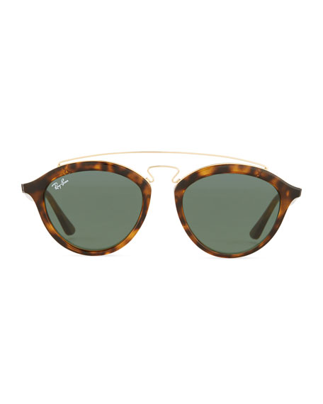 ray ban round double bridge sunglasses  round double bridge acetate sunglasses w/ solid lenses