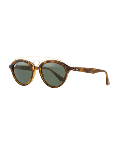 Round Double-Bridge Acetate Sunglasses w/ Solid Lenses