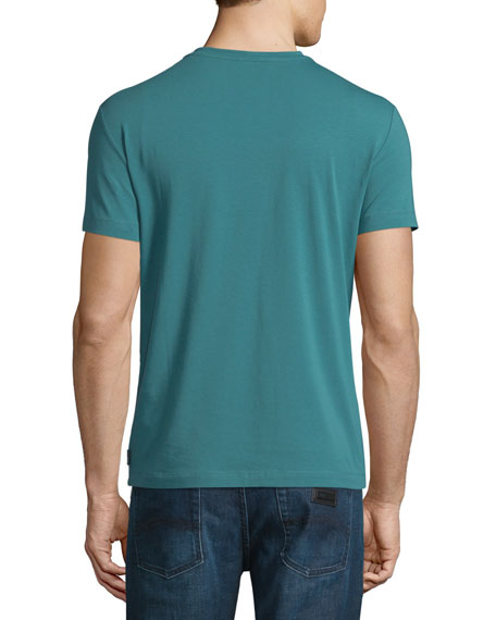 Jersey Short-Sleeve V-Neck T-Shirt, Green