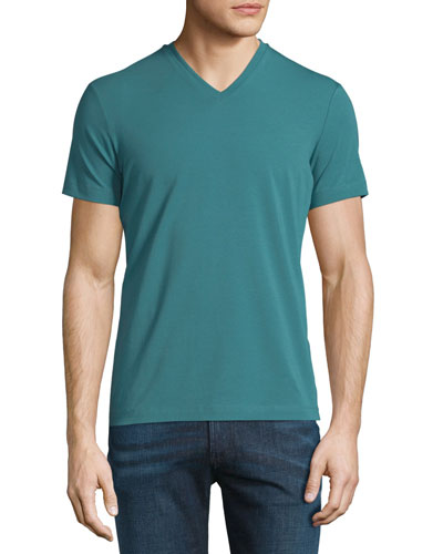 Jersey Short-Sleeve V-Neck T-Shirt, Green