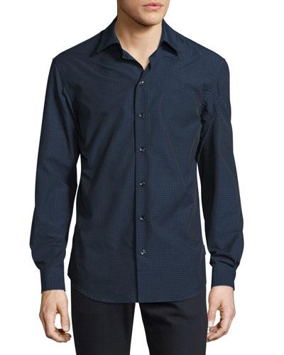 Micro Dot-Print Woven Sport Shirt, Navy/White