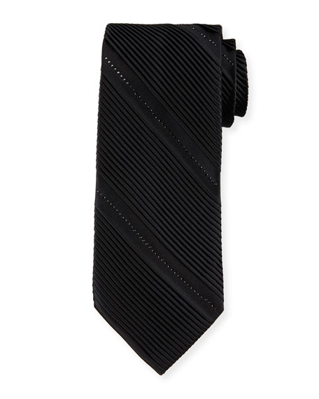 Pleated Silk Tie W/Crystal-Embellishment, Black