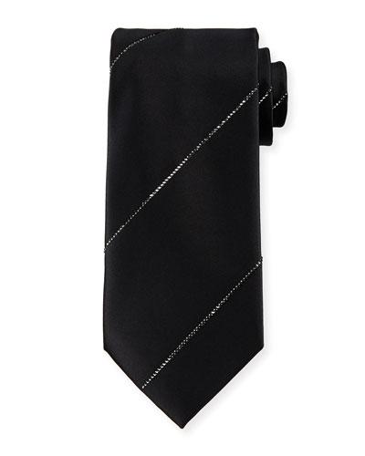 Silk Tie W/Crystal-Stripe, Black