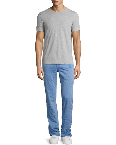 Abrasion Straight-Leg Cotton Chinos, Blue