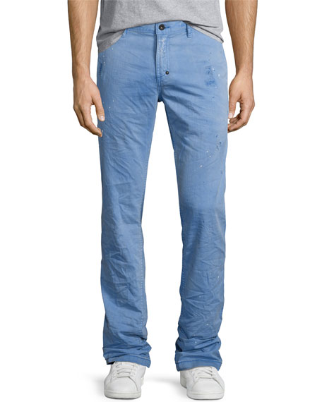 PRPS Abrasion Straight-Leg Cotton Chinos, Blue