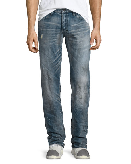 PRPS Barracuda Distressed Dirty-Wash Denim Jeans, Blue