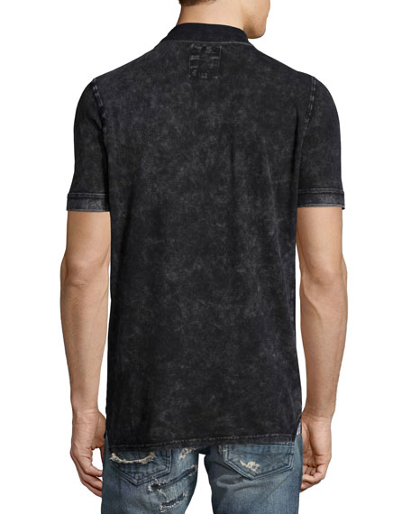 Flocked-Logo Faded Polo Shirt, Black