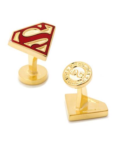 Gold Superman Shield Cuff Links