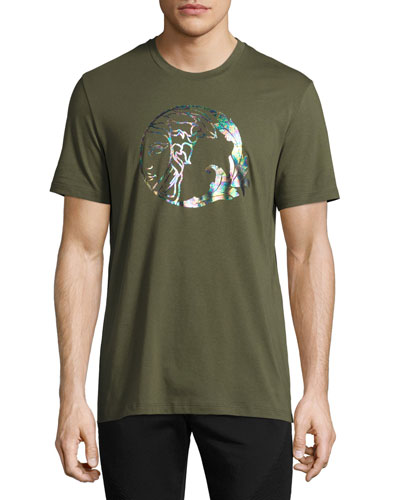 Holographic Medusa Graphic T-Shirt, Army Green