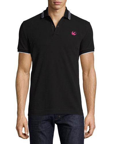 Logo Polo Shirt w/Contrast Tipping, Darkest Black