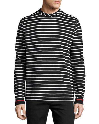 Striped Long-Sleeve T-Shirt, White/Black