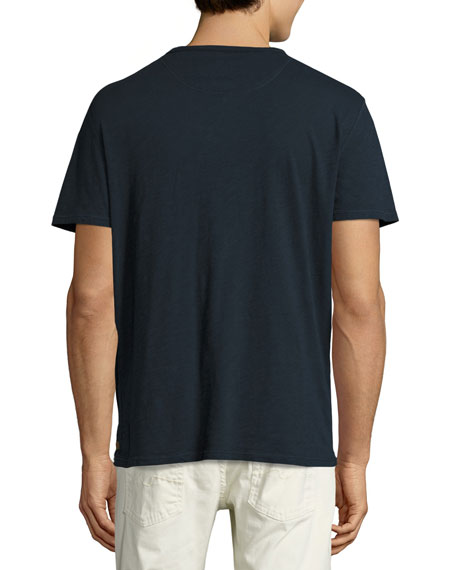 Raw-Pocket Crewneck T-Shirt, Navy