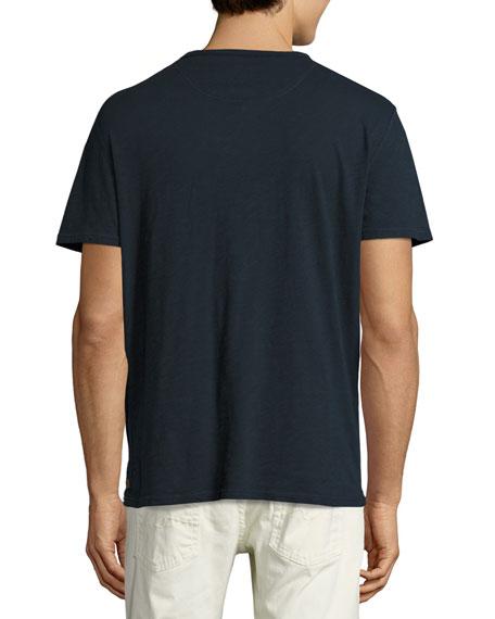 Raw-Pocket Crewneck T-Shirt, Navy