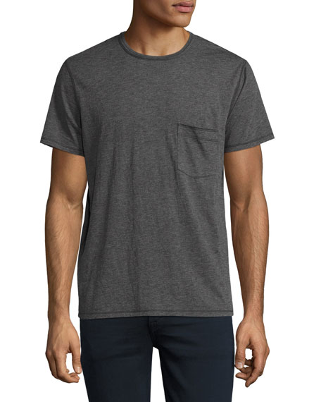 7 For All Mankind Raw-Pocket Crewneck T-Shirt, Heather