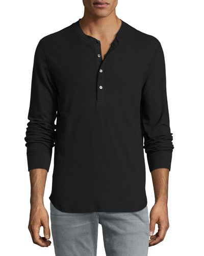 Thermal Henley T-Shirt, Black