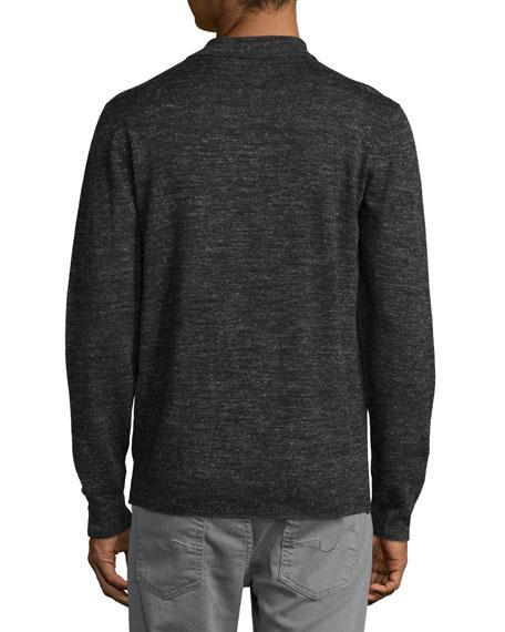 Long-Sleeve Polo Sweater, Dark Charcoal
