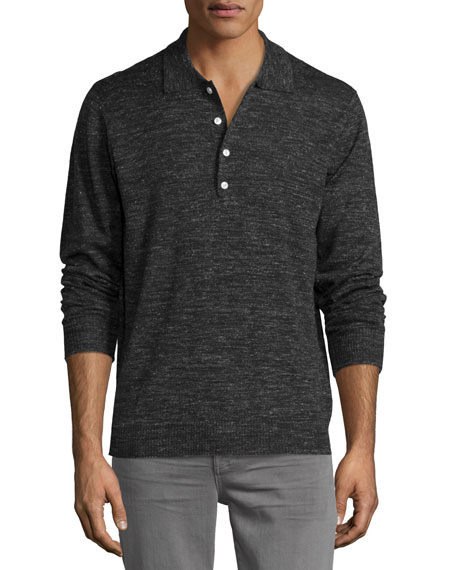 7 For All Mankind Long-Sleeve Polo Sweater, Dark