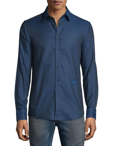 Just Cavalli Solid Long-Sleeve Woven Dress Shirt, Medium