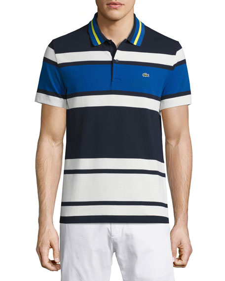 Resort Bold-Stripe Polo Shirt, Cosmos/Flour