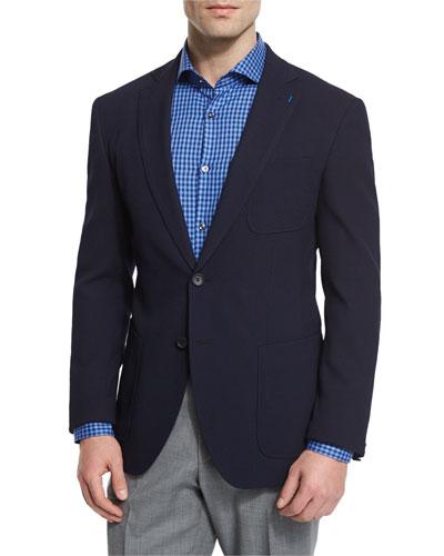 Raye Slim Honeycomb Wool-Blend Sport Coat, Navy
