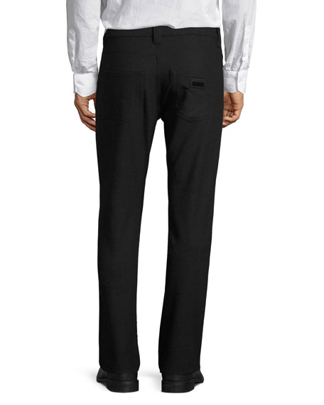 Five-Pocket Stretch-Wool Pants, Charcoal