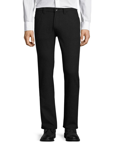 Armani Collezioni Five-Pocket Stretch-Wool Pants, Charcoal