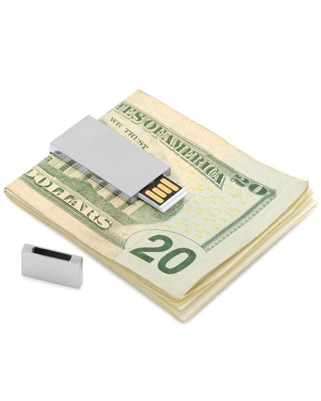 Brushed Silver 8GB USB Flash Drive Money Clip