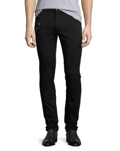 Skinny Moto Denim Jeans, Black