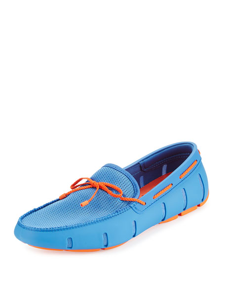 Swims Braided Bow Water-Resistant Loafer, Light Blue