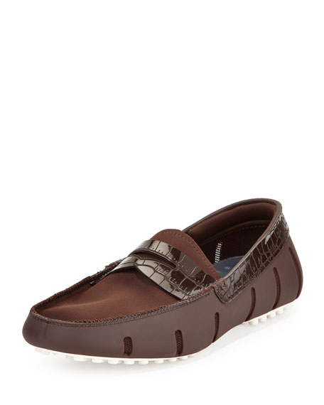 Swims Rubber Penny Loafer with Faux-Croc Trim, Brown