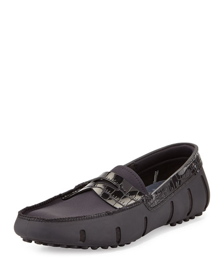 Swims Rubber Penny Loafer with Faux-Croc Trim, Black