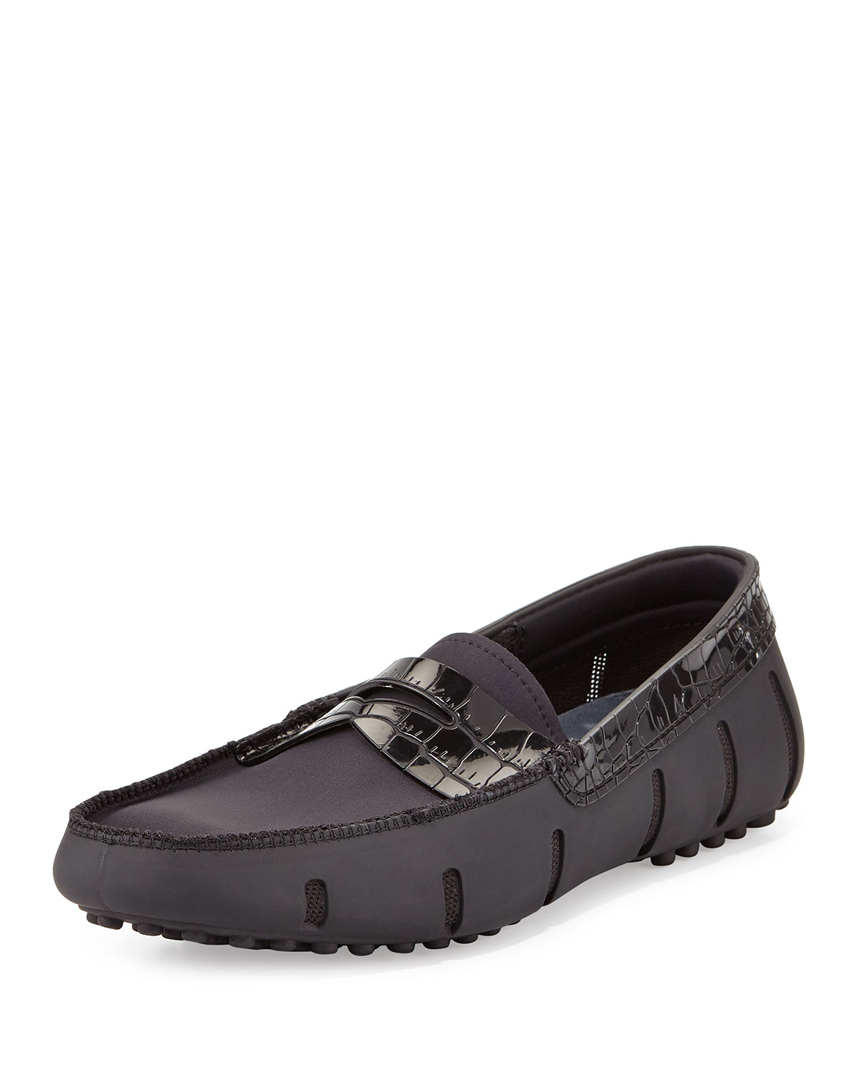 235c23af3ce Swims Rubber Penny Loafer with Faux-Croc Trim