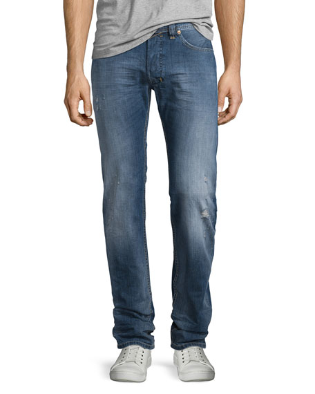 Diesel Safado Medium-Wash Straight-Leg Denim Jeans, Blue