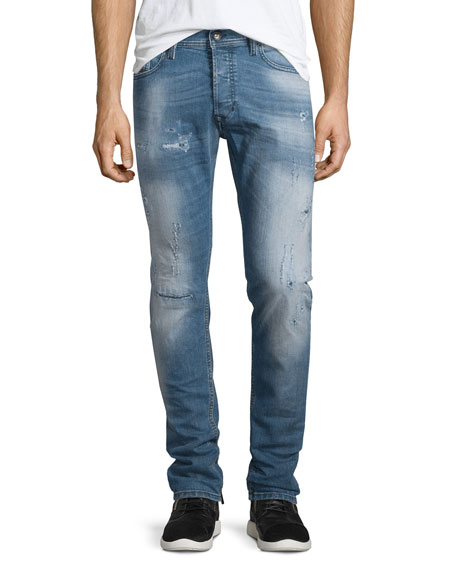 Diesel Tepphair Distressed Straight-Leg Jeans, Light Blue