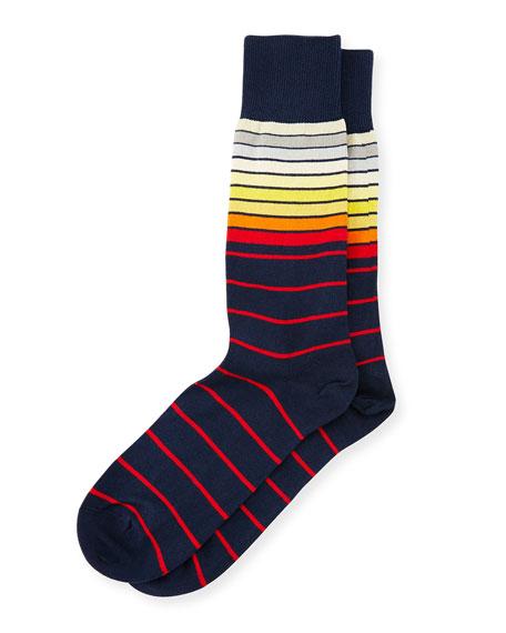 Sliding Striped Socks, Navy