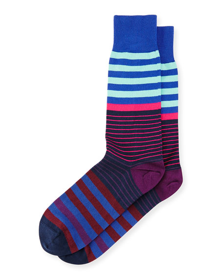 Multicolored Dual-Stripe Socks, Navy