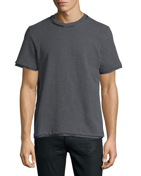 Ovadia & Sons Satin-Trim Jersey T-Shirt, Gray
