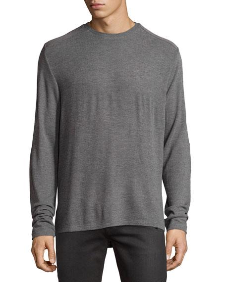 Ovadia & Sons Patch-Trim Crewneck Sweater, Gray