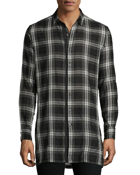 Plaid Woven Sport Shirt, White/Black