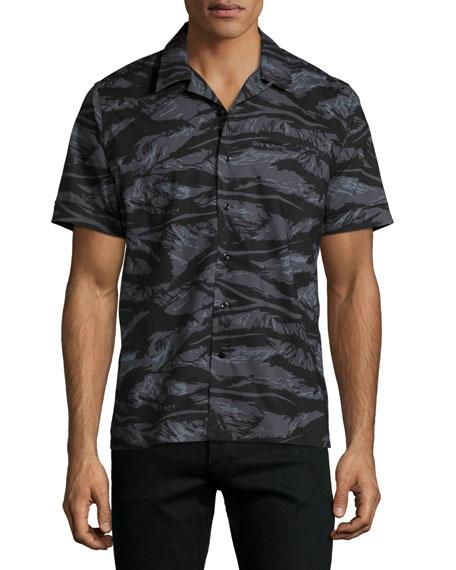 Ovadia & Sons Tiger Camo Short-Sleeve Beach Shirt,