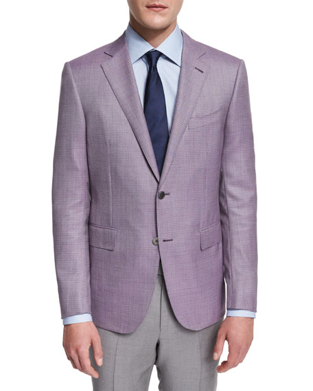 Ermenegildo Zegna Micro-Check Two-Button Jacket, Pink