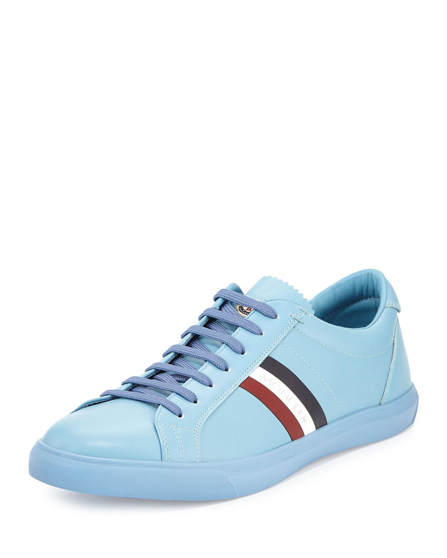 Moncler Monaco Men s Striped Leather Low-Top Sneaker 5c0bdb4c1f0