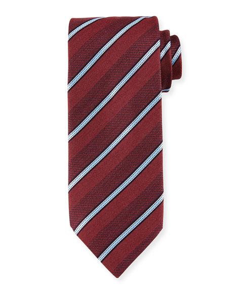 Denim-Striped Silk Tie