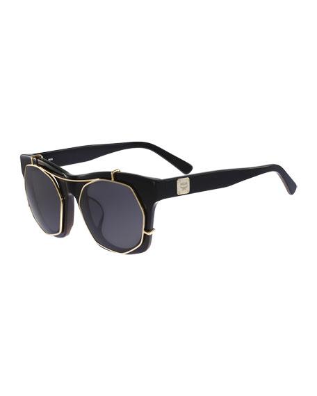 MCM Metal Clip-Front Plastic Sunglasses, Black