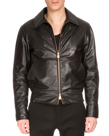 Berluti Zip-Front Leather Jacket W/Embroidered Back, Black