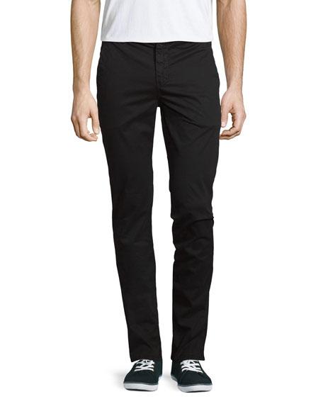 J Brand Jeans Brooks Slim-Fit Twill Trousers, Black