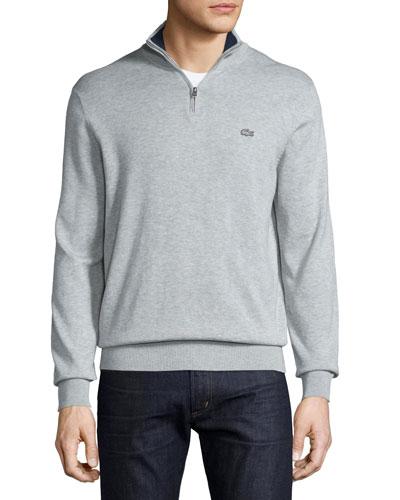Classic Quarter-Zip Jersey Sweater, Gray/Navy