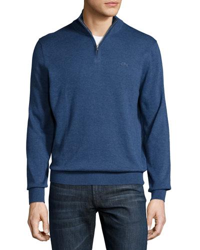 Classic Quarter-Zip Jersey Sweater, Storm Chine/Navy